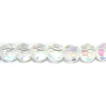 Margele sticla multifete, tansparente, AB, 4mm 10 buc