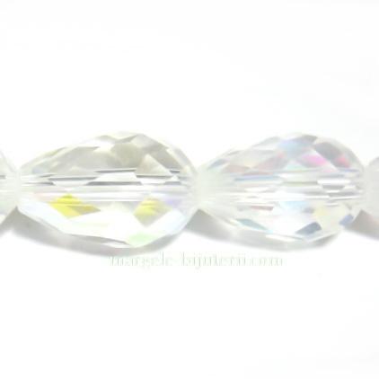 Margele sticla lacrima, transparente AB, 15x10mm 1 buc