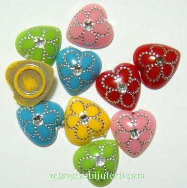 Aplice plastic, multicolore, inimioare 11mm 10 buc
