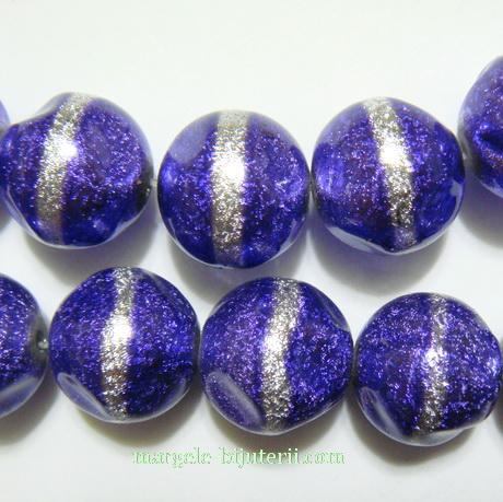 Perle sticla, stardust, violet cu argintiu, 12mm 1 buc