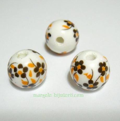 Margele portelan albe cu flori pictate maro, 12mm 1 buc