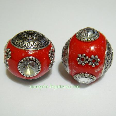 Margele indoneziene, rosii cu argintiu, lucrate manual, 18mm 1 buc
