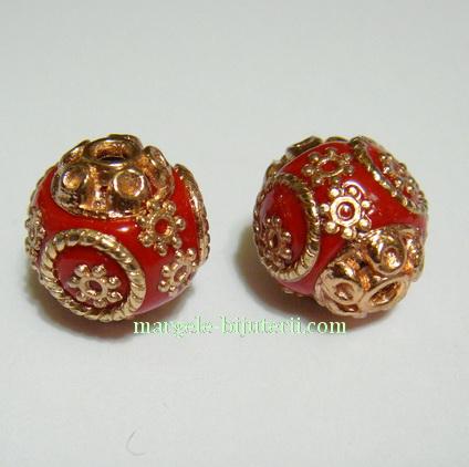 Margele indoneziene, rosii, lucrate manual, accesorii aurii, 14mm 1 buc