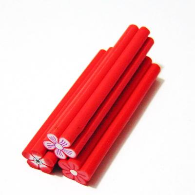 Bete fimo rosii cu interior floare, 50x8-11mm 1 buc