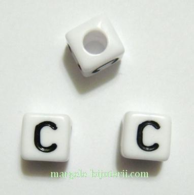 Margele alfabet, plastic alb, cubice 8x8x8mm, litera C 1 buc