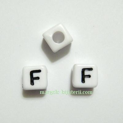 Margele alfabet, plastic alb, cubice 8x8x8mm, litera F 1 buc