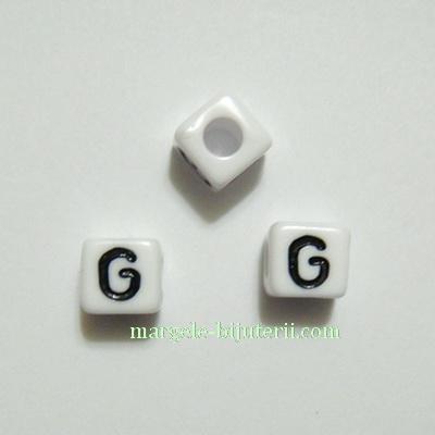 Margele alfabet, plastic alb, cubice 8x8x8mm, litera G 1 buc