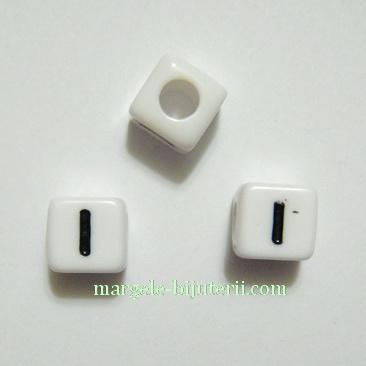 Margele alfabet, plastic alb, cubice 8x8x8mm, litera I 1 buc