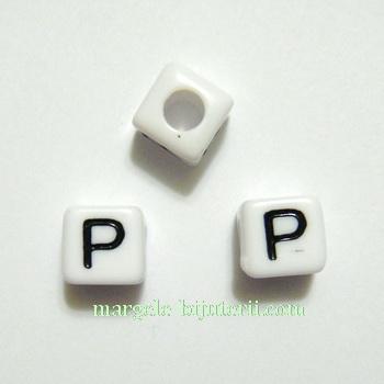 Margele alfabet, plastic alb, cubice 8x8x8mm, litera P 1 buc