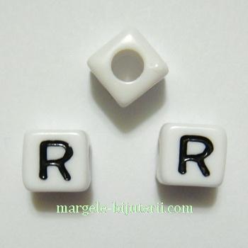 Margele alfabet, plastic alb, cubice 7x7x7mm, litera R 1 buc