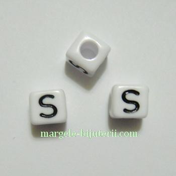 Margele alfabet, plastic alb, cubice 8x8x8mm, litera S 1 buc