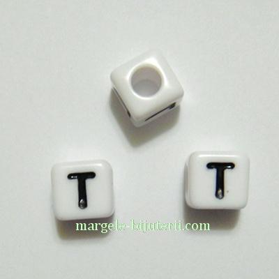 Margele alfabet, plastic alb, cubice 8x8x8mm, litera T 1 buc