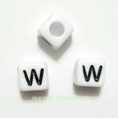 Margele alfabet, plastic alb, cubice 8x8x8mm, litera W 1 buc