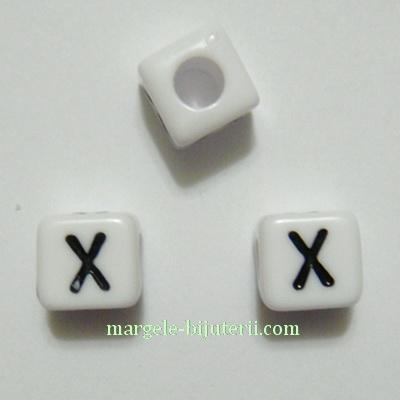 Margele alfabet, plastic alb, cubice 8x8x8mm, litera X 1 buc
