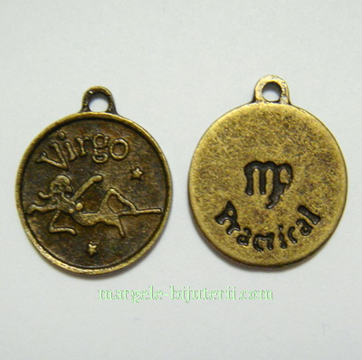 Pandantiv antic, bronz, zodiac, FECIOARA, 20x17x2mm 1 buc