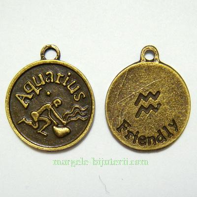Pandantiv antic, bronz, zodiac, VARSATOR, 20x17x2mm 1 buc