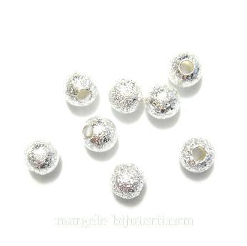 Margele metalice, stardust, argintii, 4mm 1 buc