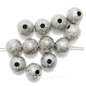 Margele metalice, stardust, argintiu inchis, 6mm 1 buc