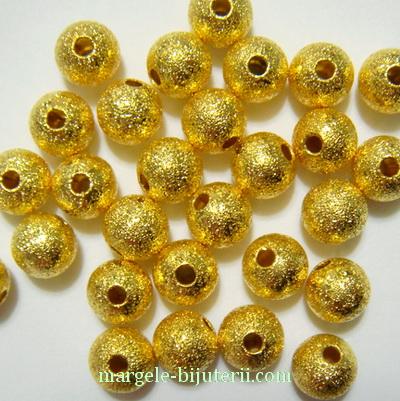 Margele metalice, stardust, aurii, 6mm 1 buc