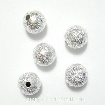 Margele metalice, stardust, argintii, 8mm 1 buc