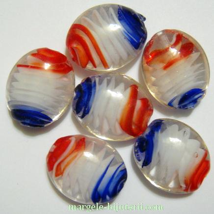 Margele sticla, lampwork, cu interior spirala albastru-alb-rosu, 22x18x9mm 1 buc
