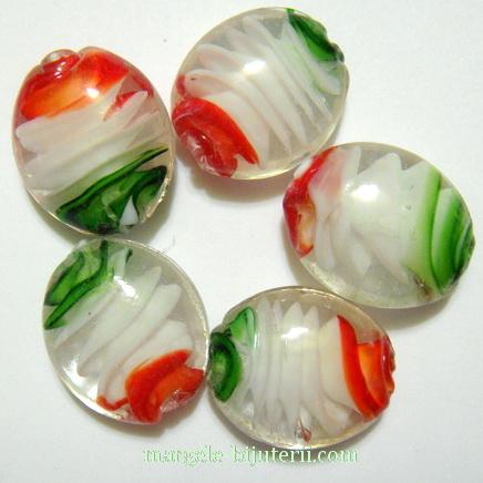 Margele sticla, lampwork, cu interior spirala verde-alb-rosu, 22x18x9mm 1 buc