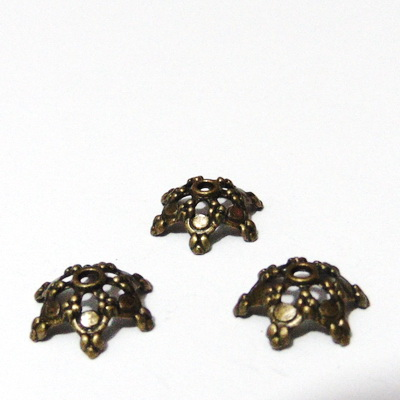 Capacel bronz cu 6 frunzulite, 15x6mm 1 buc
