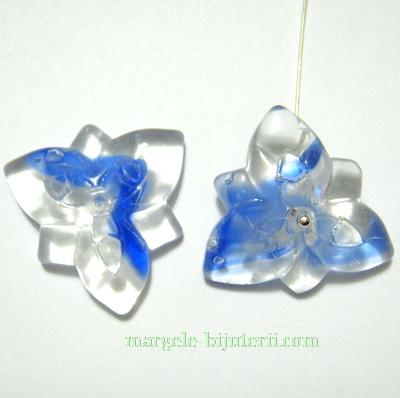 Flori sticla, plate, albastre, 25x24x5mm 1 buc