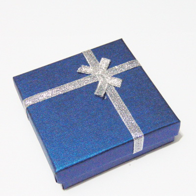 Cutie cadou, bleumarin, cu fundita argintie, 85x85x30mm 1 buc