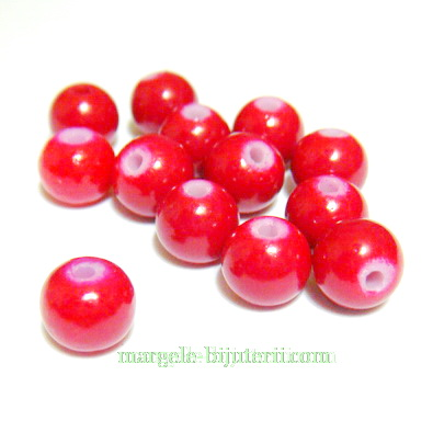 Margele sticla, rosii, 6mm 10 buc