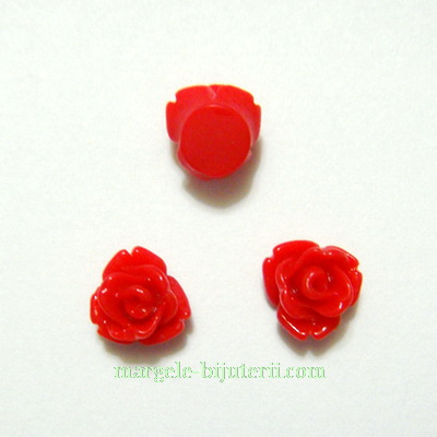 Cabochon rasina, flori rosii 7.5x6mm 1 buc