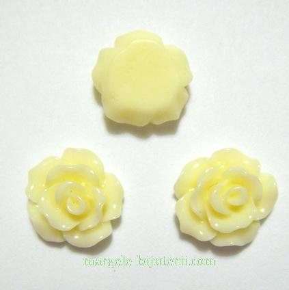 Cabochon rasina, flori galben-pal, 10x6mm 1 buc