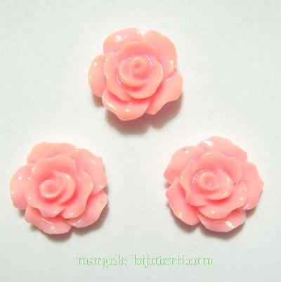 Cabochon rasina, flori roz, 10x6mm 1 buc