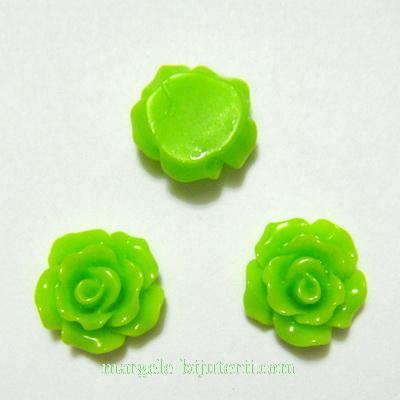 Cabochon rasina, flori verde deschis, 10x6mm 1 buc