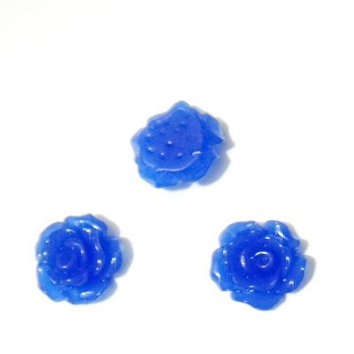 Cabochon rasina, flori albastru-cobalt, 10x6mm 1 buc