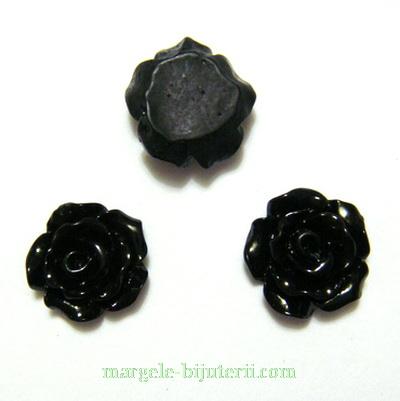 Cabochon rasina, floare neagra, 10x6mm 1 buc