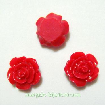 Cabochon rasina, floare rosie, 10 mm 1 buc