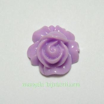 Cabochon rasina, floare violet, 16x9mm 1 buc