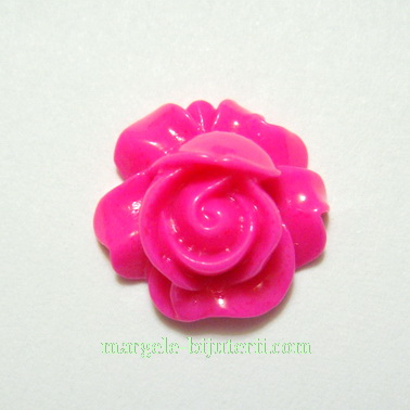 Cabochon rasina, floare fucsia, 16x9mm 1 buc
