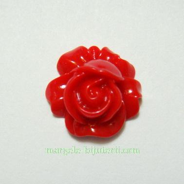 Cabochon rasina, floare rosie, 18x7mm 1 buc