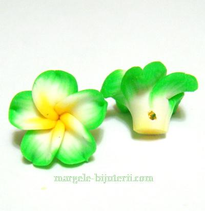Margele polymer, floare plumeria verde cu 5 petale, 15x9mm 1 buc