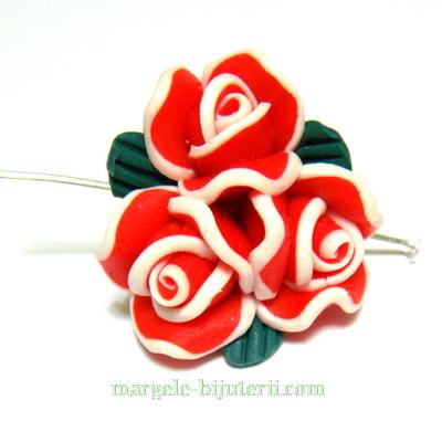 Margele polymer, buchet 3 flori rosii, 22mm 1 buc