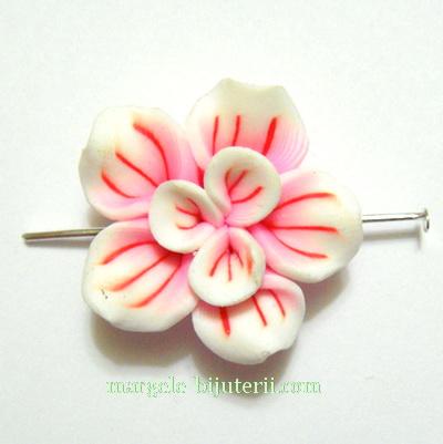 Margele polymer, floare alb cu roz, 24mm 1 buc