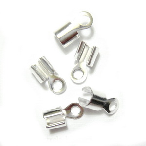 Capat prindere panglica, argintiu, pe baza alama, 10x5x3mm 10 buc