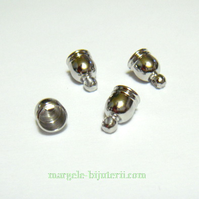 Capat prindere snur, argintiu inchis, pe baza alama, 8x5 mm 1 buc