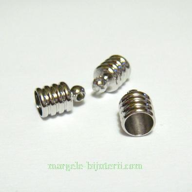 Capat prindere snur, argintiu inchis, cu spirale, 9x6 mm 1 buc
