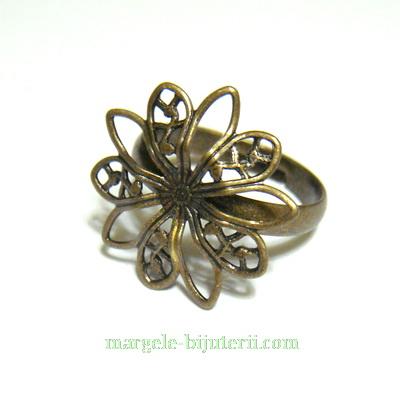 Baza inel culoare bronz, pe baza alama, reglabila, platou 19mm 1 buc