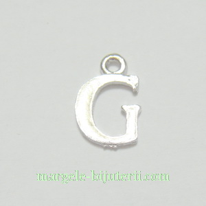 Pandantiv alfabet, argintiu inchis, 12x11x2mm, litera G 1 buc