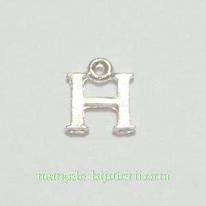 Pandantiv alfabet, argintiu inchis, 12x11x2mm, litera H 1 buc
