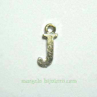 Pandantiv alfabet, argintiu inchis, 12x11x2mm, litera J 1 buc